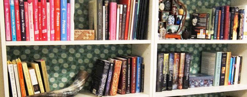 organise bookshelf with backing