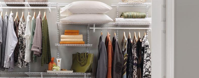 bedroom storage in the closet